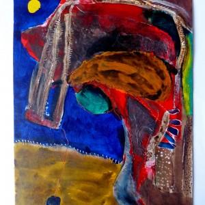 """Uwe Klos """"Nachtsonne"""", 41x30cm, Mischt. auf Karton"""